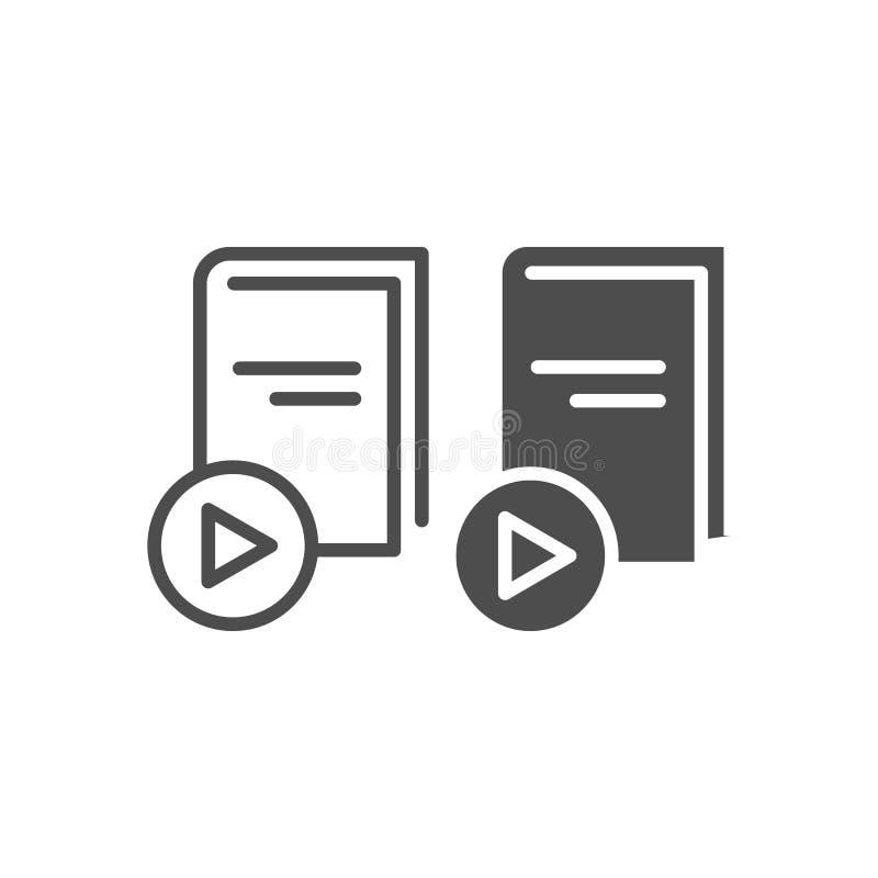 Линия EBook и значок глифа Книга с иллюстрацией вектора кнопки игры изолированной на белизне Дизайн стиля плана образования иллюстрация штока