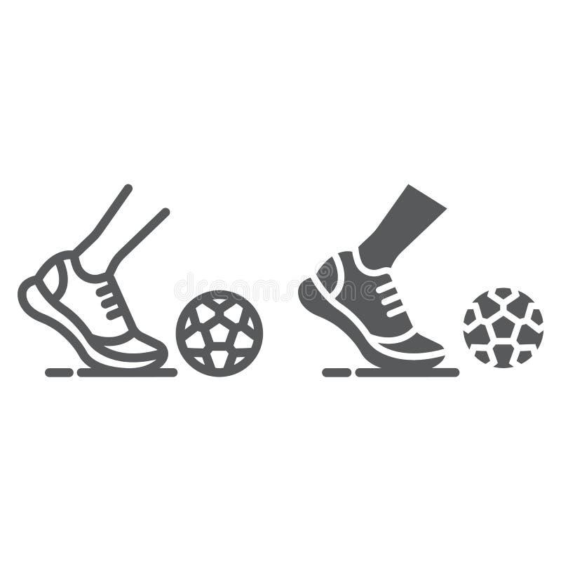 Линия Kickball и значок глифа, футбол и игра, нога со знаком шарика, векторными графиками, линейной картиной на белом иллюстрация вектора