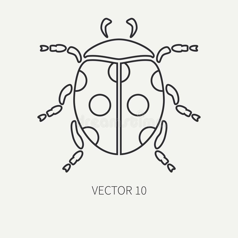 Линия ladybug точки значка фауны живой природы вектора плоской равнины Упрощенное ретро Тип шаржа насекомое пива инсектология иллюстрация вектора