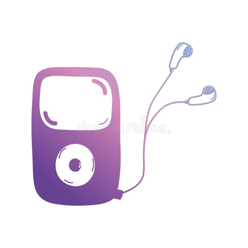 Линия mp3 плэйер, который нужно слушать музыка с наушниками бесплатная иллюстрация