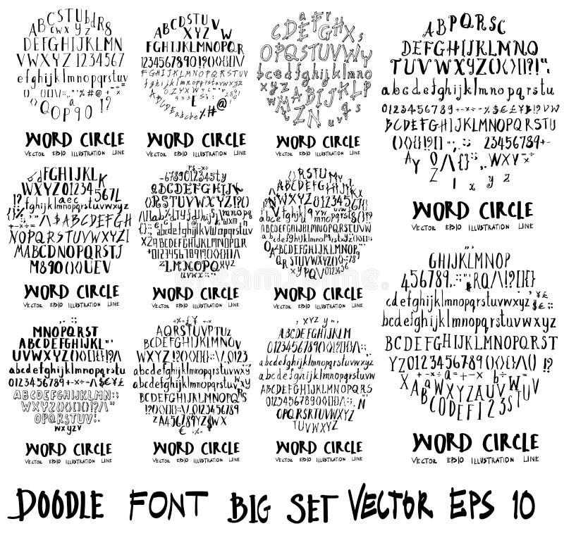 Линия s предпосылки обоев формы круга иллюстрации doodle шрифта иллюстрация вектора