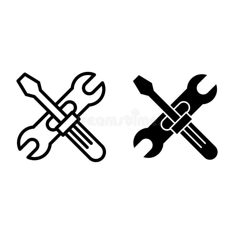 Линия Screwdriwer и регулируемого ключа и значок глифа Иллюстрация вектора ремонта изолированная на белизне Отвертка и иллюстрация вектора