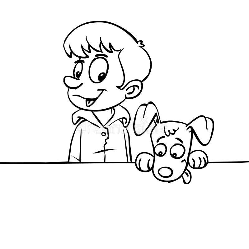 Лини-искусство мальчика и собаки иллюстрация вектора
