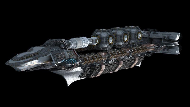 Линкор чужеземца в перемещении глубокого космоса иллюстрация вектора