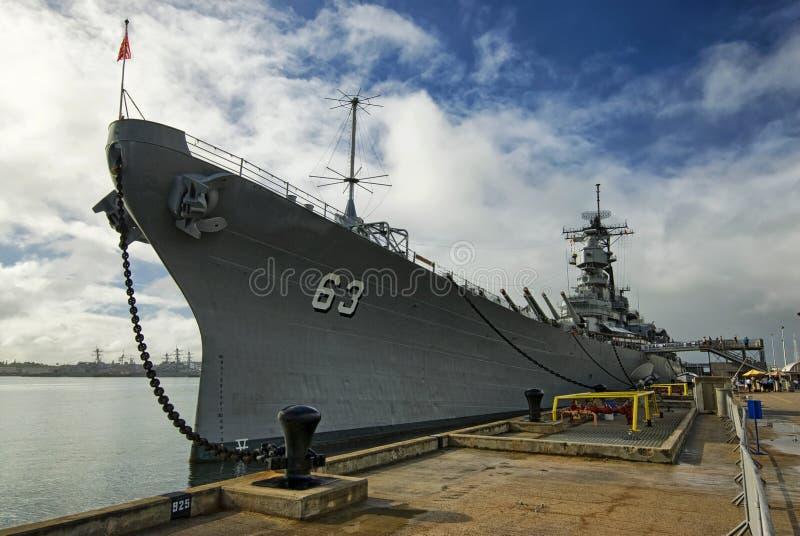 Линкор USS Missouri на Перл-Харборе в Гаваи стоковые изображения rf
