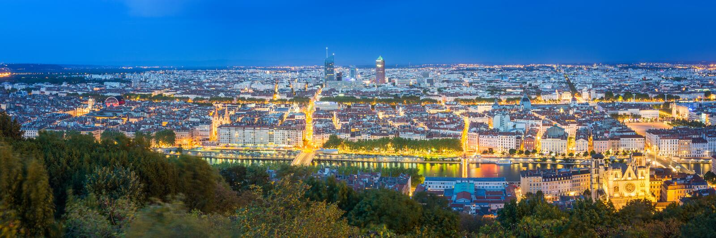 Лион на ноче, Франция стоковое изображение