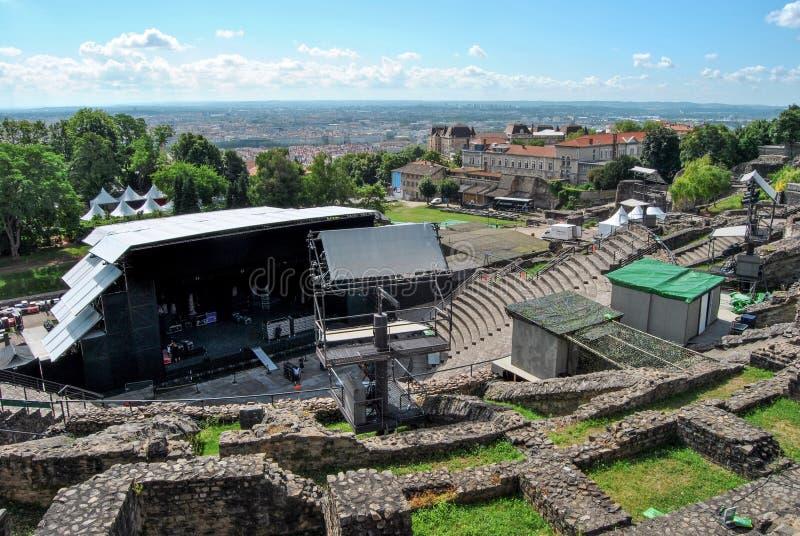 Лион, римская арена перед концертом стоковые фотографии rf