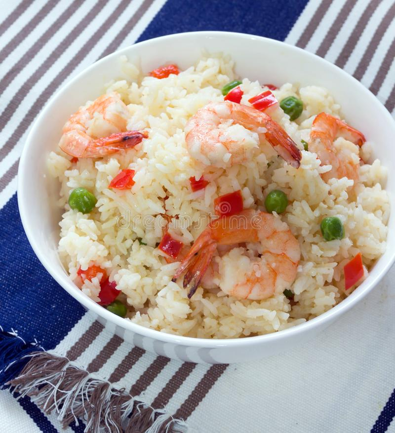 Липкие жареные рисы с креветками стоковые фотографии rf