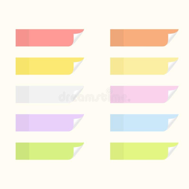 Липкие стикеры с краями сальто Комплект листов бумаги извещения иллюстрация штока