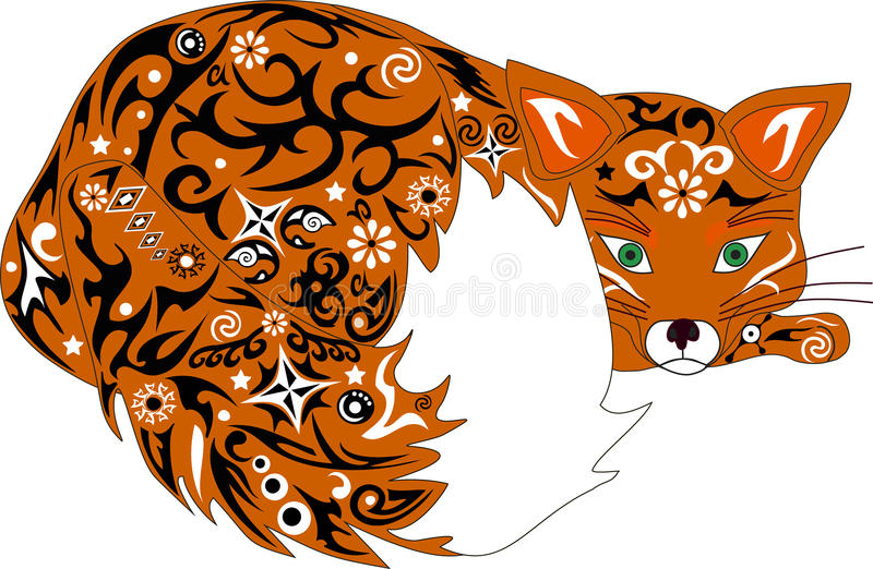 Лиса иллюстрация, животный апельсин, иллюстрация вектора