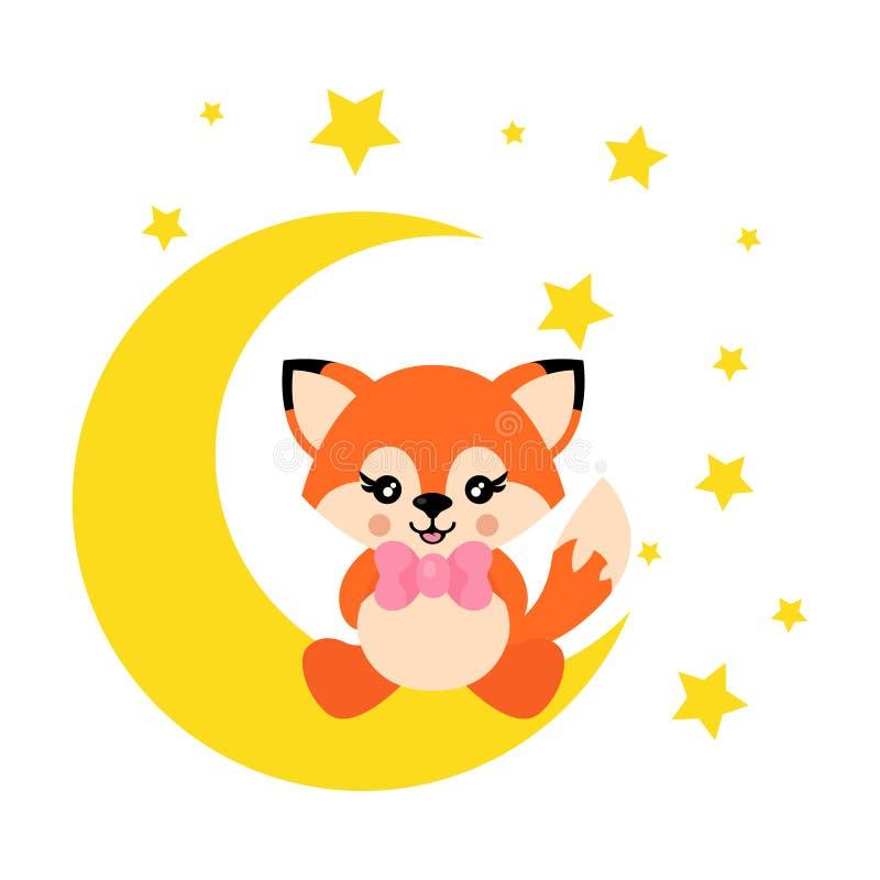 Лиса мультфильма милая со связью сидит на луне иллюстрация штока