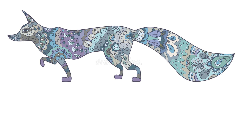 Лиса нарисованная рукой голубая флористическая сделанная по образцу