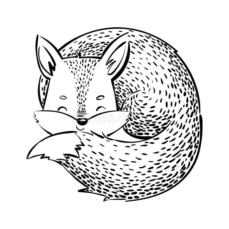 Лиса спать Лиса шаржа на белой предпосылке Стилизованное животное леса иллюстрация детей Чертеж вектора для иллюстрация вектора