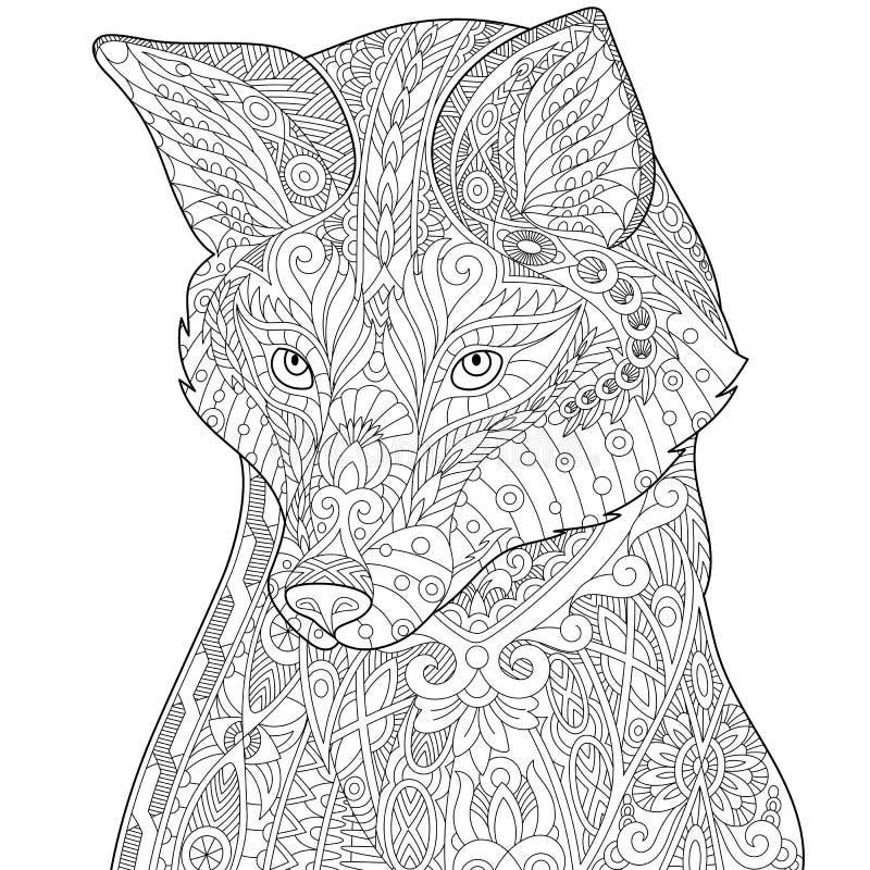 Лиса Zentangle стилизованная иллюстрация вектора