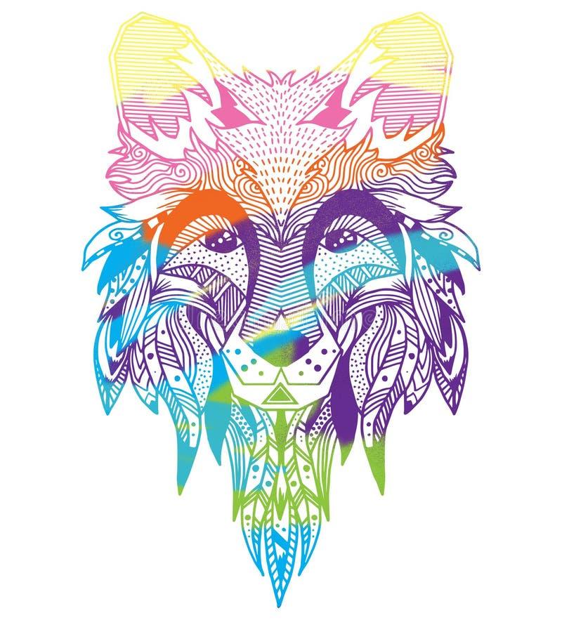 лисица Нарисованный вручную с этнической флористической картиной doodle Страница расцветки - zendala, дизайн для духовной релакса иллюстрация вектора
