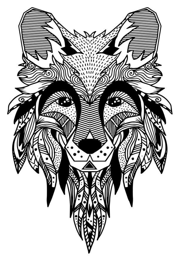 лисица Нарисованный вручную с этнической флористической картиной doodle Страница расцветки - zendala, дизайн для духовной релакса иллюстрация штока