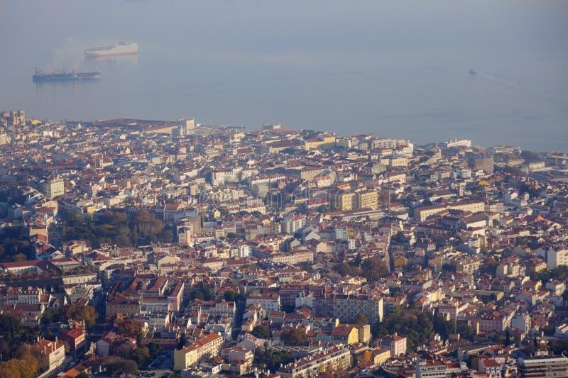 Лиссабон - вид с воздуха города стоковое изображение rf