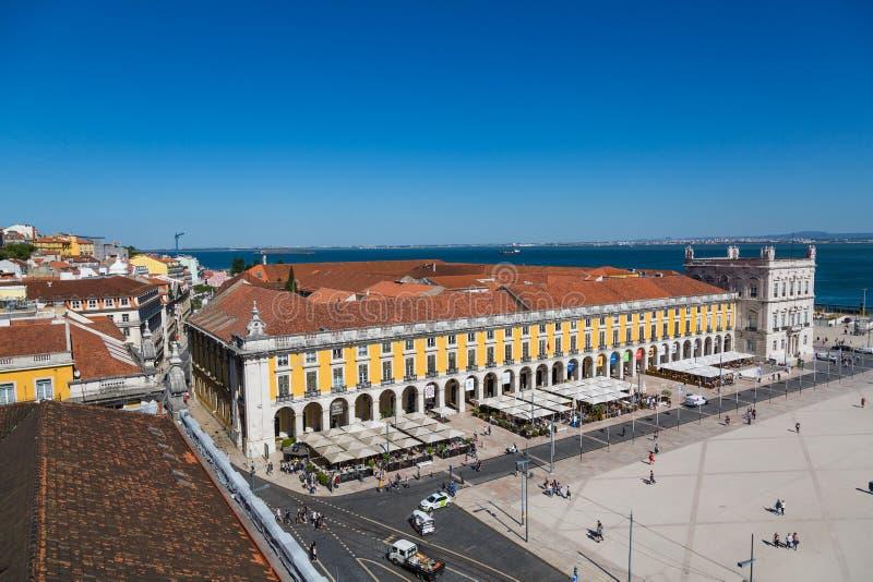 Лиссабон, Португалия - 19-ое мая 2017: Вид с воздуха квадрата Comercio стоковые изображения rf