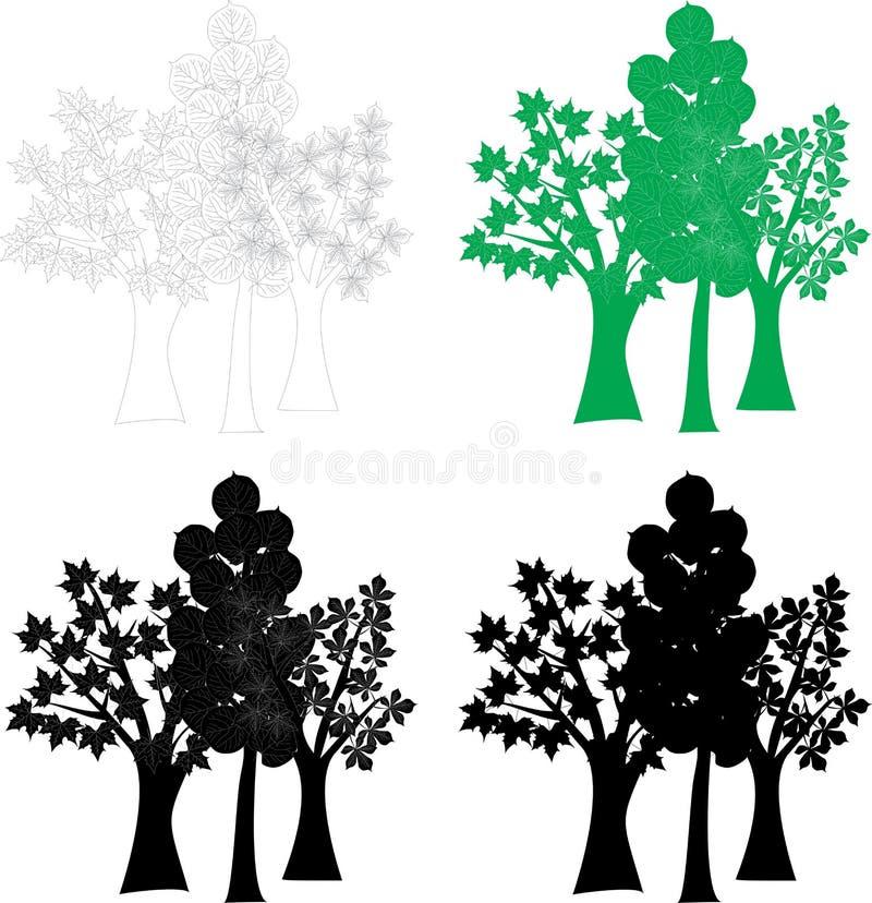 Лиственные деревья векторной графики установленные вал иллюстрации зажима цветения искусства бесплатная иллюстрация