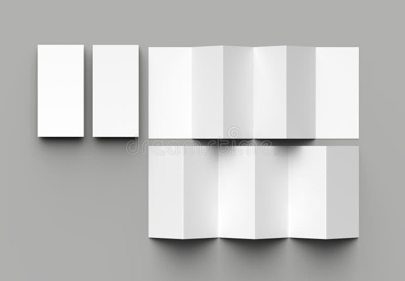листовка 12 страниц, створка аккордеона 6 панелей - brochu вертикали створки z иллюстрация штока