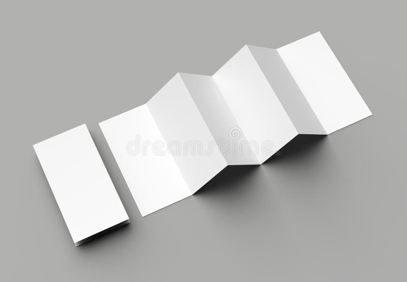 листовка 12 страниц, створка аккордеона 6 панелей - brochu вертикали створки z иллюстрация вектора