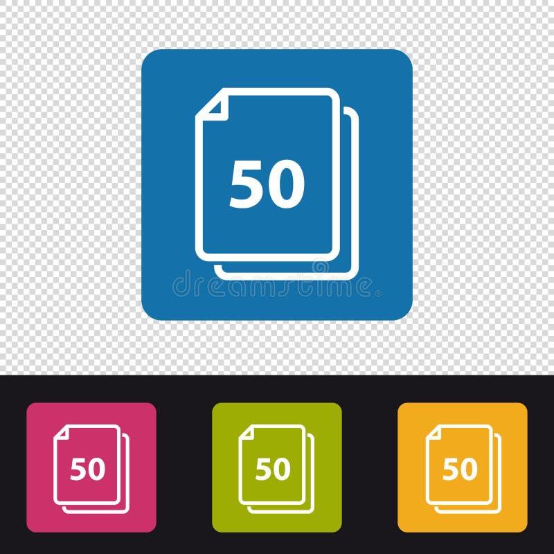 Листы значка 50 бумаг - красочная иллюстрация вектора - изолированные на прозрачном Backround иллюстрация штока