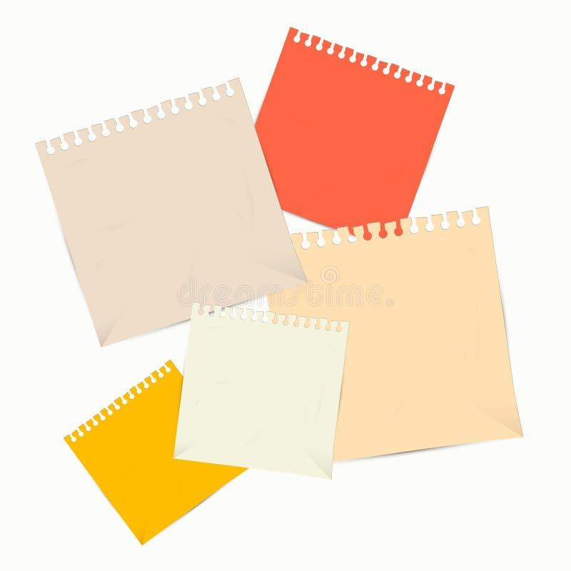 Листы красочного вектора пустые бумажные на белой предпосылке бесплатная иллюстрация