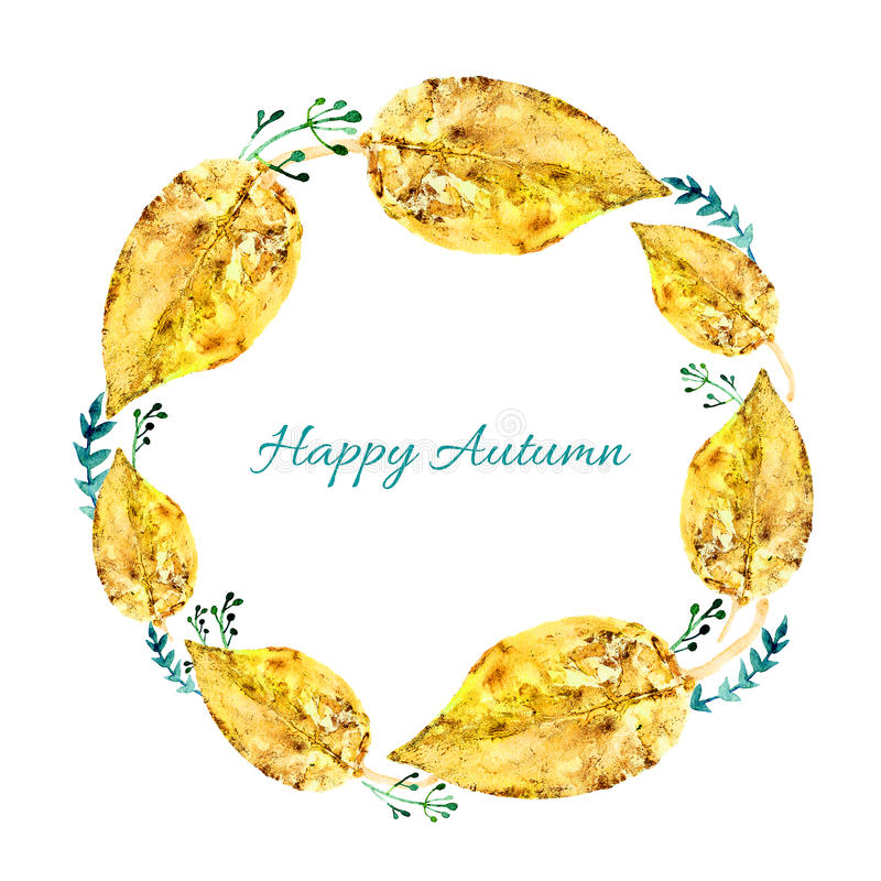 Листья акварели изолированные на белой предпосылке, круглой рамке, руке нарисованные лист отпечатка штемпеля венка, поздравительн бесплатная иллюстрация