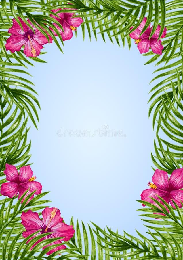 Листья ладони и тропическая предпосылка цветка иллюстрация вектора