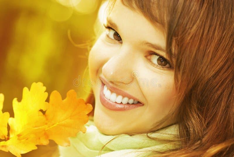 листья брюнет осени золотистые стоковая фотография rf