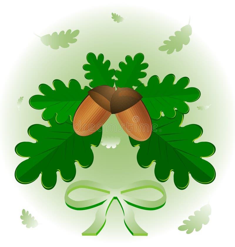 листья жолудей иллюстрация штока