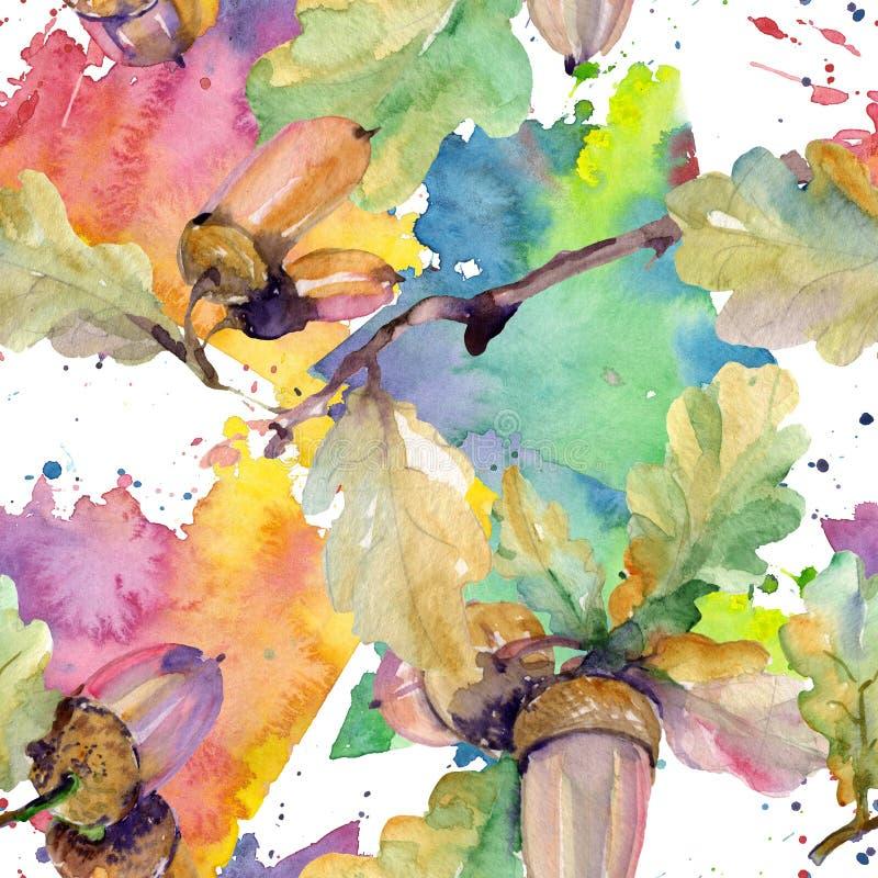 Листья и гайки зеленого цвета жолудя Набор иллюстрации предпосылки акварели Безшовная картина предпосылки иллюстрация штока