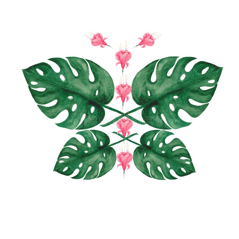Акварель установила с тропическими листьями и цветками иллюстрация вектора