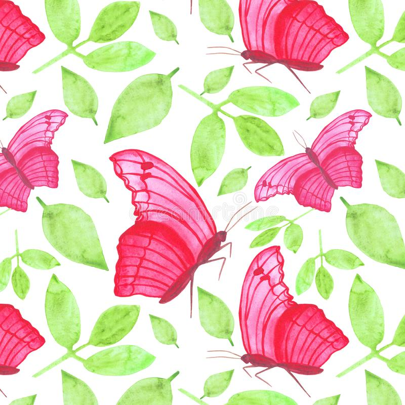 Листья картины butterflyl пинка летания акварели тропические экзотические безшовные иллюстрация штока