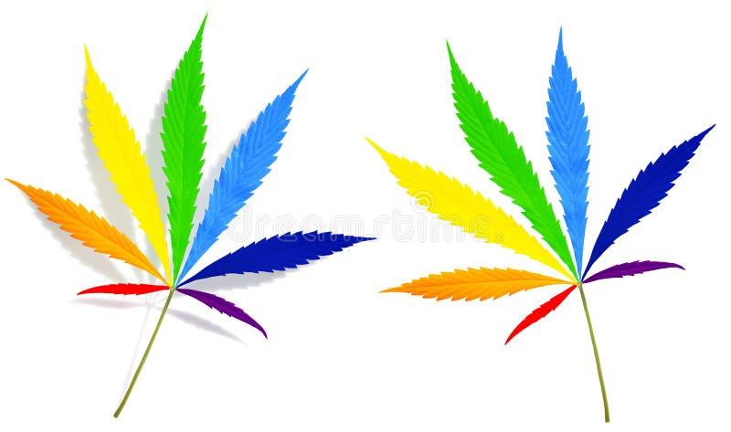 Листья конопли покрашенные в цветах радуги иллюстрация штока
