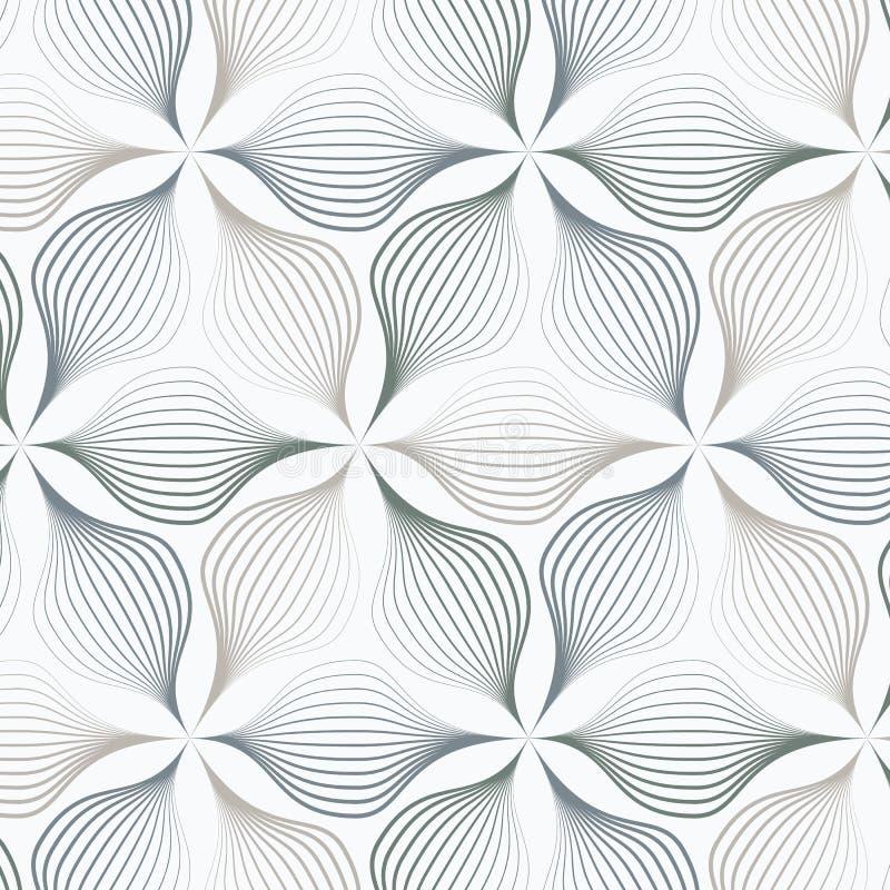 Листья конспекта или цветок или флора в различном размере линий в каждом объекте на форме шестиугольника Очистите дизайн для ткан иллюстрация вектора