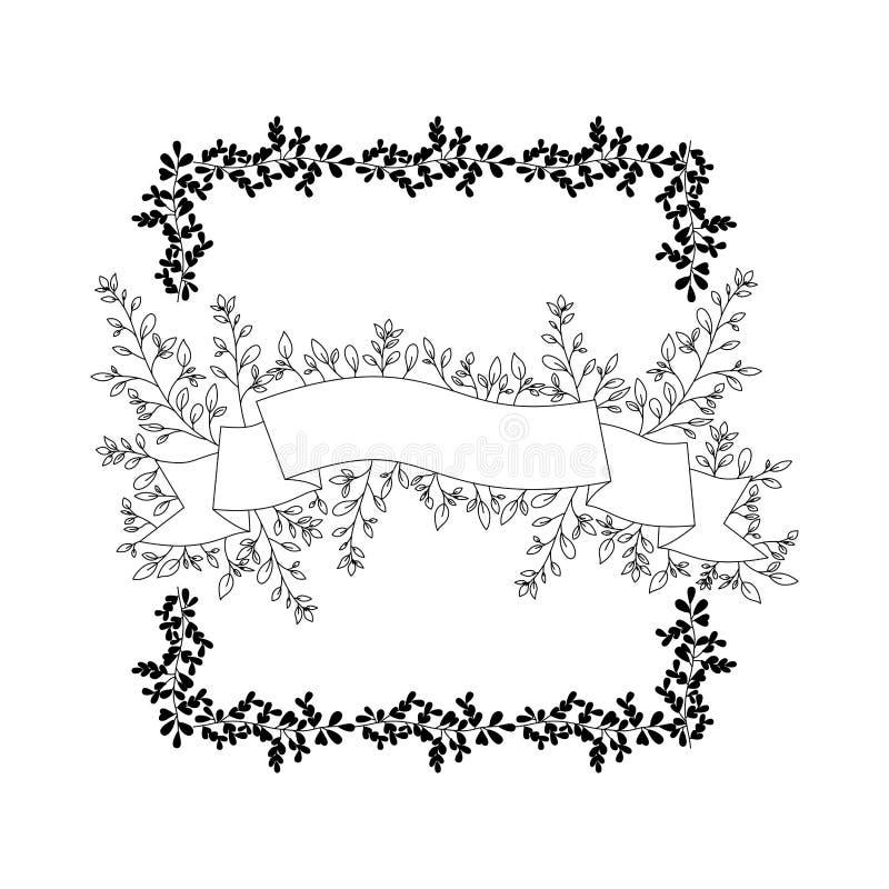 Листья кроны и рамка ленты квадратная бесплатная иллюстрация