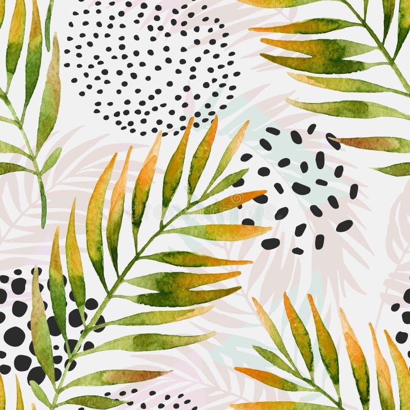 Листья ладони акварели и геометрическая предпосылка с треугольниками, doodle, текстура градиента, формы 80s 90s, элементы Мемфиса иллюстрация вектора