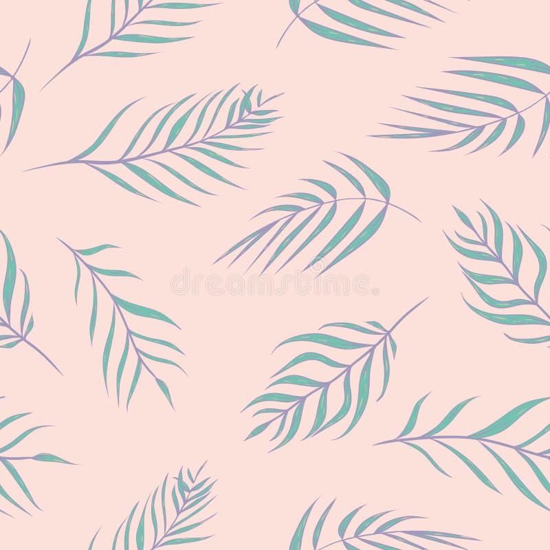 Листья ладони вектора тропические в предпосылка картине пинка и бирюзы безшовная бесплатная иллюстрация