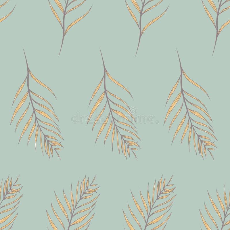 Листья ладони вектора тропические в предпосылке картины ретро цветов безшовной бесплатная иллюстрация