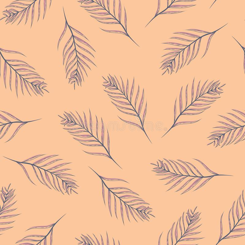 Листья ладони вектора тропические на оранжевой безшовной предпосылке картины иллюстрация штока