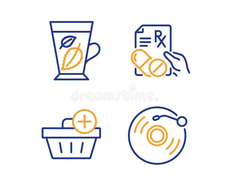 Листья мяты, добавляют набор приобретения и значков отпускаемых по рецепту лекарств Знак показателя винила r иллюстрация штока