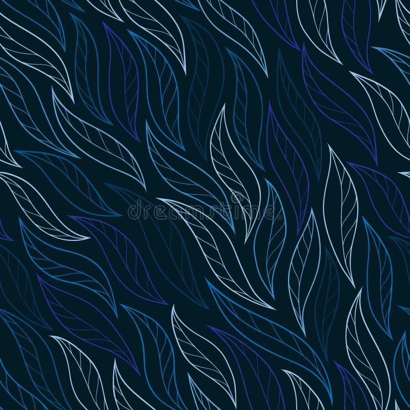 Листья на нарисованном вручную голубой предпосылки безшовное абстрактное бесплатная иллюстрация