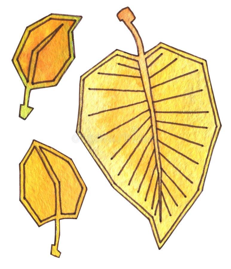 Листья осени желты и оранжевы Акварель чертежа руки с планом r Падение лист осени бесплатная иллюстрация
