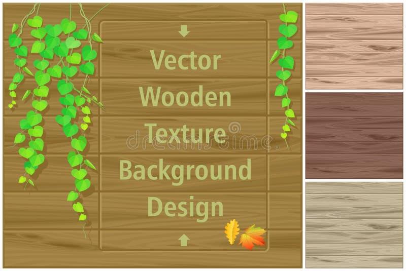 Листья осени на деревянной доске и различных тенях деревянных текстур бесплатная иллюстрация