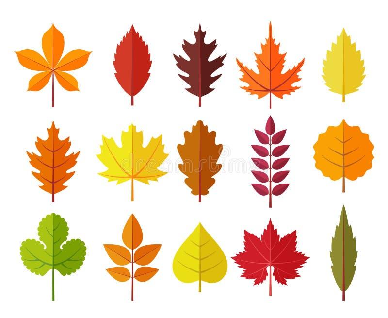 Листья осени установили, изолированный на белой предпосылке стиль простого шаржа плоский, иллюстрация вектора иллюстрация штока