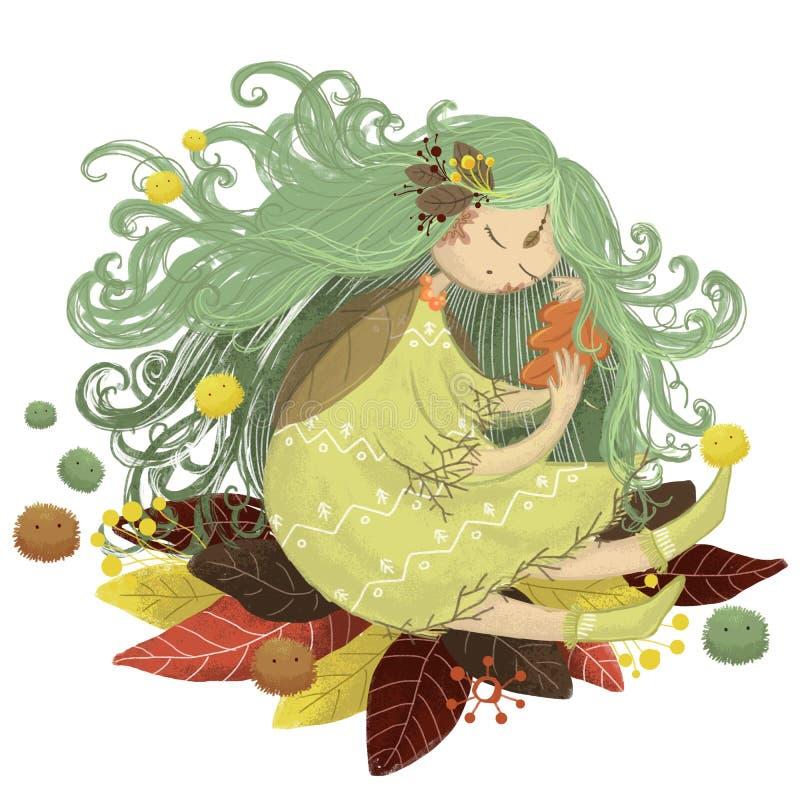 Листья осени феи леса феи иллюстрация вектора