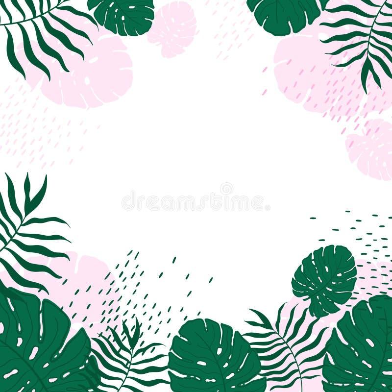 Листья пастели картины вектора пастельные тропические иллюстрация штока