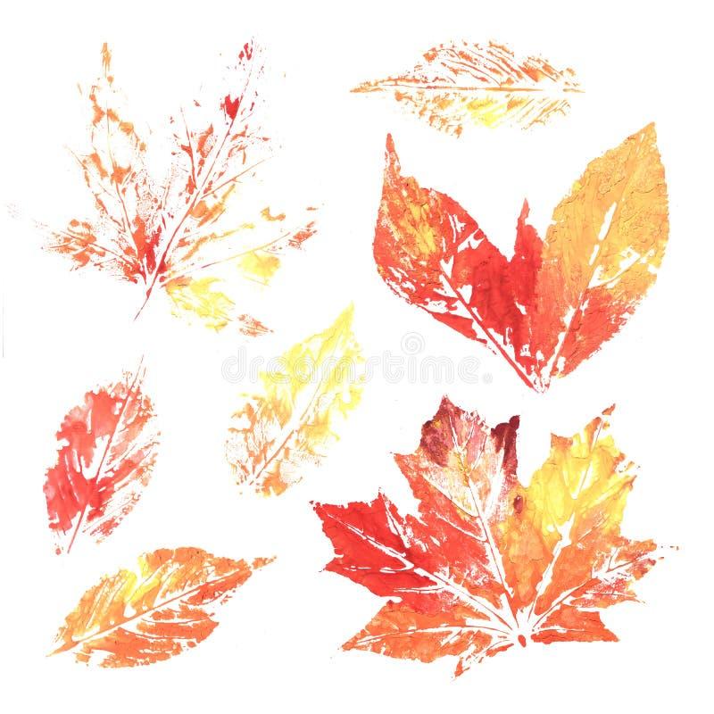 Листья печатания чернил акварели красочные стоковое фото rf
