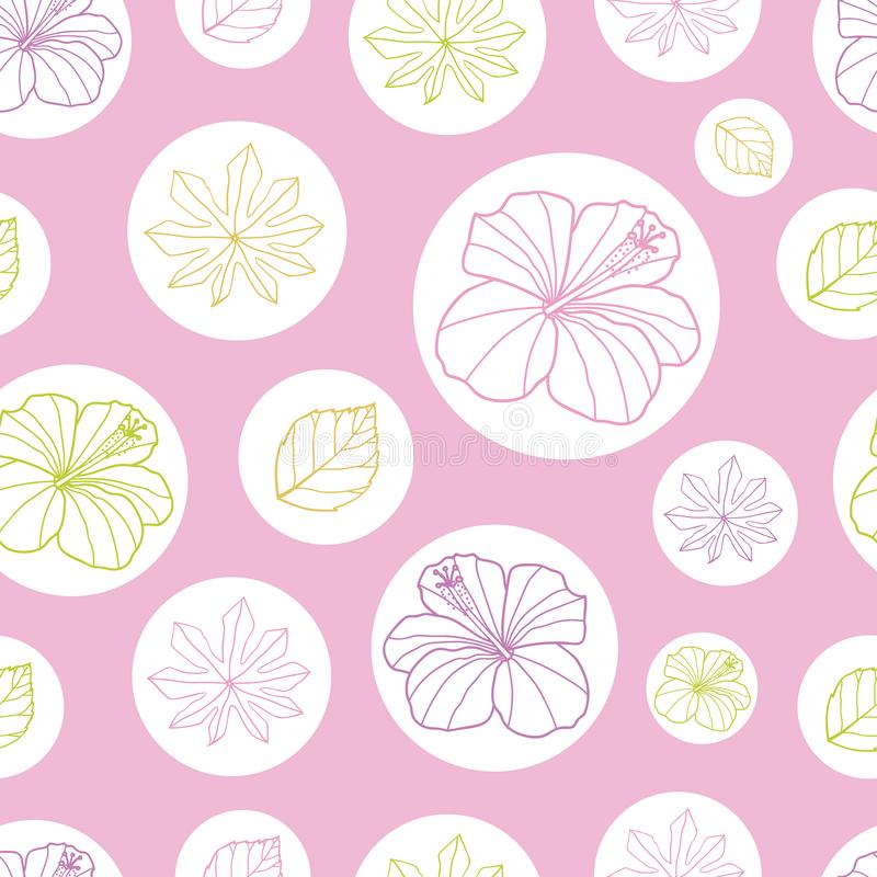 Листья пинка вектора и белых тропические и гибискус цветут безшовная предпосылка картины Улучшите для ткани, scrapbooking, обои иллюстрация штока